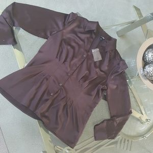 East 5th. Silk like brown button blouse.